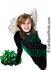 Happy Girl in a Pom Pon Uniform - Happy young woman sitting...