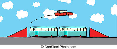Cartoon car jumping buses
