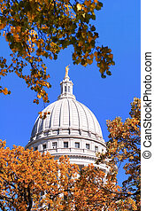 Capitol Dome, Madison, Wisconsin - A view of the capital...