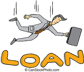 Businessman falling on loan