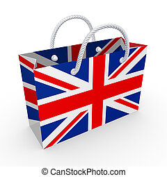 Packet with flag of UKIsolated on white3d rendered