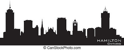 Hamilton Canada skyline Detailed vector silhouette