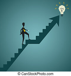 new idea concept - businessmen walk stair and catch the new...