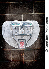 Double Parking Meter - Double parking meter next to a block...