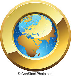 Globe button rimmed with golden glossy frame isolated on...