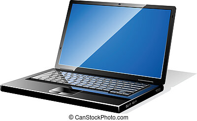 Modern black opened laptop with blank screen.
