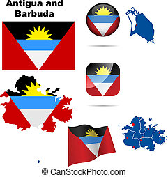 Antigua and Barbuda vector set Detailed country shape with...