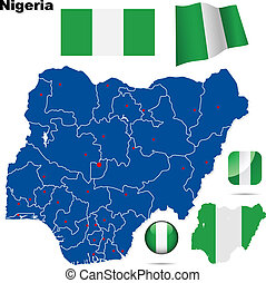 Nigeria vector set. Detailed country shape with region...