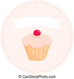 Sweet retro vector cupcake sign - Sweet retro vector cupcake...