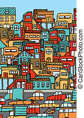 Overpopulation / Crowded city full of cars and houses.