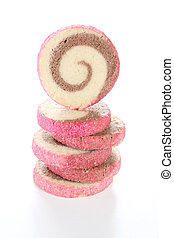 Pinwheel Cookies - A stack of pinwheel cookies isolated