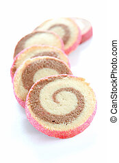 Pinwheel Cookies - A pile of pinwheel cookies laid out on...