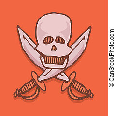 Cartoon pirate icon / Skull and swords emblem