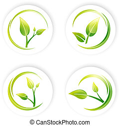Green Sprout Leaf Design Set - Green Sprout Leaf Different...