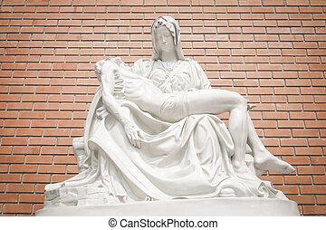 maría, estatua,  Jesús
