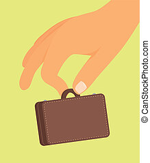 Small business / Hand holding tiny suitcase