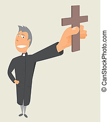 Priest holding cross / Holy occupation