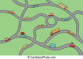 Cars in the road