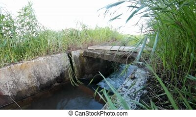 irrigation ditch - flowing water in fish eye view