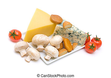 cheese, mushrooms and tomatoes isolated on white background