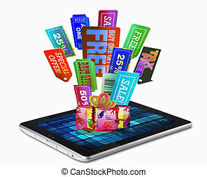 Sale Tags, Tablet PC, Concept