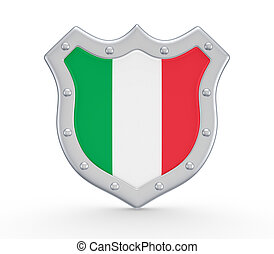 Coat of Arms with flag of Italy.Isolated on white...