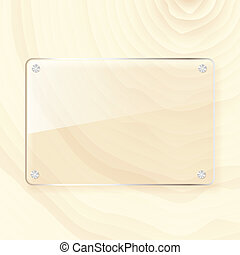 rectangular glass plate on wood background