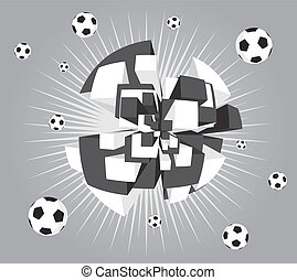 Soccer abstract ball exploding background