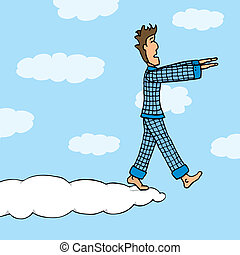 Somnambulant guy walking on cloud