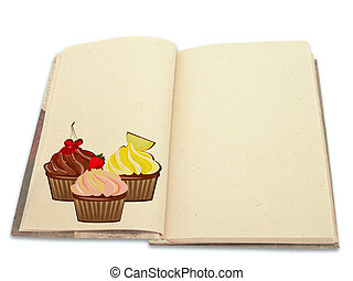 Recipe book ilustrated with cupcakes isolated on white