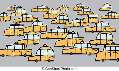 Big group of cartoon taxis Vector traffic jam