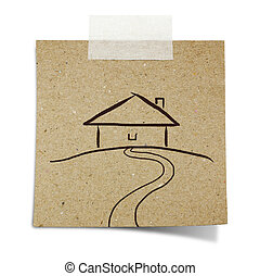 hand draw house on note taped recycle paper