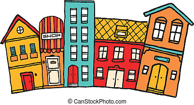 Small cartoon town Cute colorful neighborhood