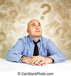 homem negócios, questionar