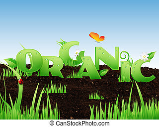 """Illustrated word """"Organic"""" with grass and floral elements on..."""