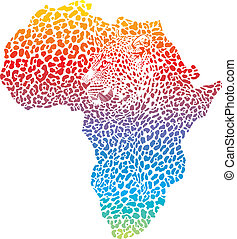Abstract leopard skin and head - vector illustration of...