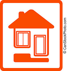 symbol with house, door and window - yellow cottage symbol...