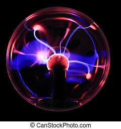 magic rays - Plasma ball souvenir with magenta-blue...