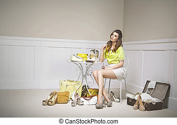 Confused young woman among shoes