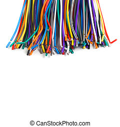 colored wires isolated on white background
