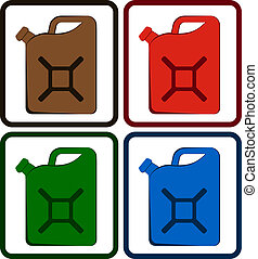 set gasoline jerry can - set colorful gasoline jerry can...