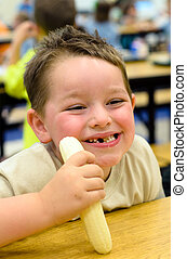 Child eating at school cafeteria