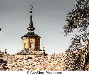 church steeple - Terra cotta roof with a church steeple