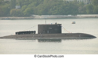Moored submarine Alrosa - Moored submarine in harbor, crew...