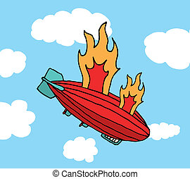 Zeppelin on fire falling Big failure