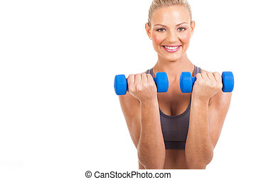 woman working out with dumbbells - cheerful woman working...