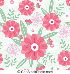 Pink flowers and green leaves seamless pattern background -...