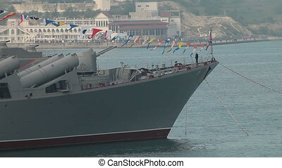 Russian Navy - Moored missile cruiser Moscow in Sevastopol