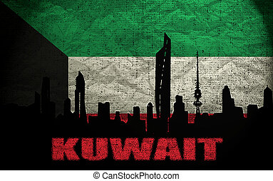View of Kuwait on the Grunge Flag