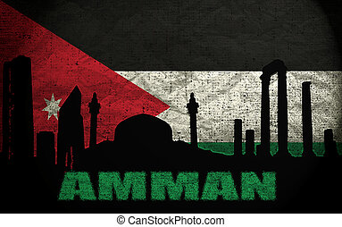 View of Amman on the Grunge Jordan Flag